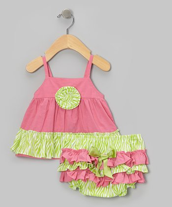 Dusty Rose & Lime Swing Top & Ruffle Diaper Cover - Infant & Toddler