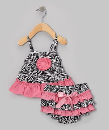 Dusty Rose Zebra Swing Top & Ruffle Diaper Cover - Infant & Toddler
