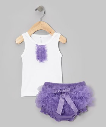 White Tank & Purple Ruffle Diaper Cover - Infant & Toddler