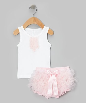 White Tank & Light Pink Ruffle Diaper Cover - Infant & Toddler