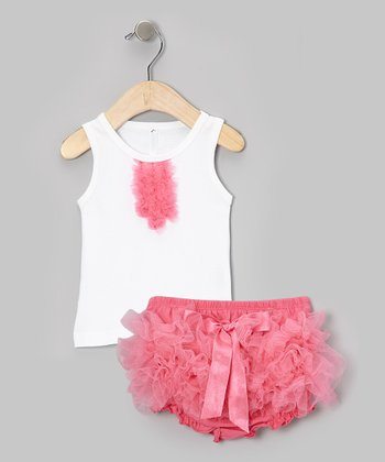 White Tank & Dusty Rose Ruffle Diaper Cover - Infant & Toddler