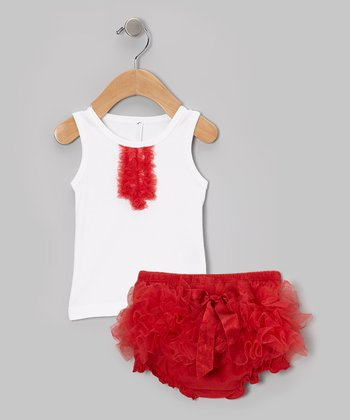 White Tank & Red Ruffle Diaper Cover - Infant & Toddler