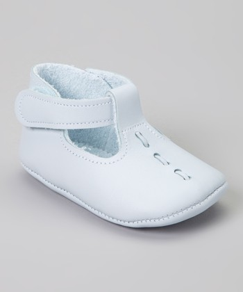 Light Blue Stitch Leather  T-Strap Shoe
