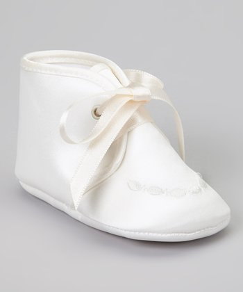 Ivory Embroidered Satin Shoe