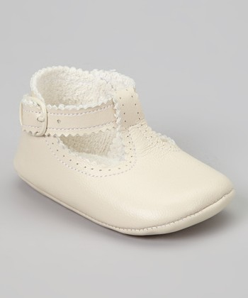 Ivory Scalloped Leather T-Strap Shoe