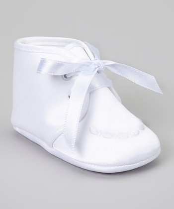 White Embroidered Satin Shoe