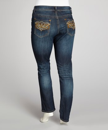 Deep Blue & Orange Rhinestone Skinny Jeans - Plus