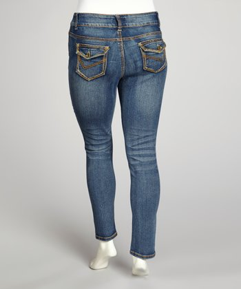 Medium Blue Double-Button Skinny Jeans - Plus