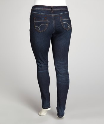 Dark Blue Whiskered Skinny Jeans - Plus