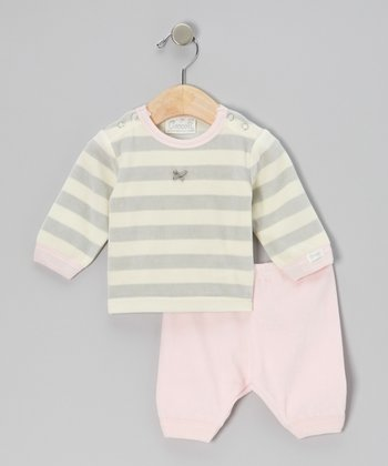 Gray & Pink Stripe Velour Pajama Set - Infant