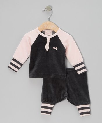 Charcoal & Pink Velour Pajama Set - Infant