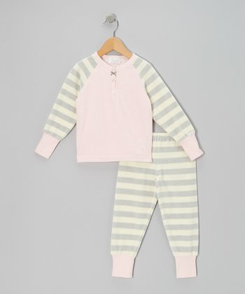 Pink & Gray Stripe Velour Pajama Set - Infant, Toddler & Kids