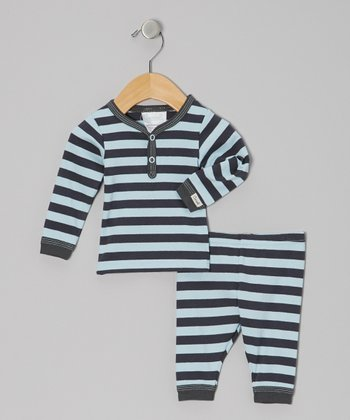 Blue & Charcoal Stripe Pajama Set - Infant