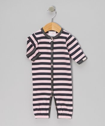 Pink & Charcoal Stripe Convertible Gown - Infant
