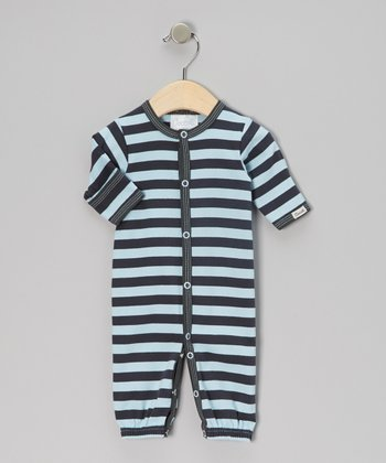 Blue & Charcoal Stripe Convertible Gown - Infant