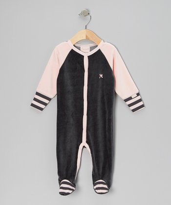 Charcoal & Pink Velour Footie - Infant