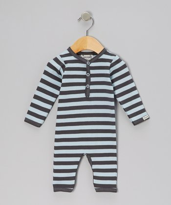 Blue & Charcoal Stripe Playsuit - Infant