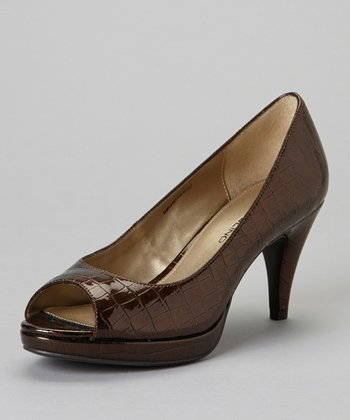 Brown Mylah Peep-Toe Pump