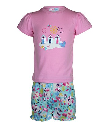 Pink Beach House Shorts Pajama Set - Toddler & Girls