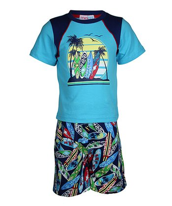 Navy Surfboard Shorts Pajama Set - Toddler & Boys