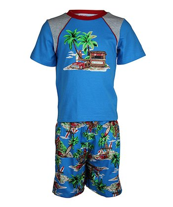 Blue Hawaii Shorts Pajama Set - Toddler & Boys