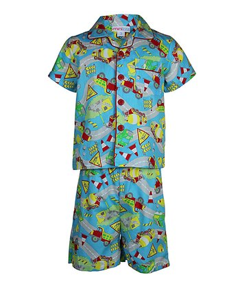 Blue Construction Button-Up Pajama Set - Toddler & Boys