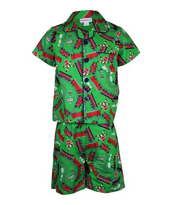 Green Train Button-Up Pajama Set - Toddler & Boys