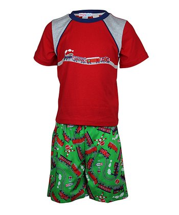 Red & Green Train Button-Up Shorts Pajama Set - Toddler & Boys
