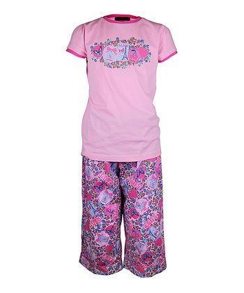 Pink Love Paris Pajama Set - Girls