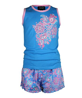 Blue Paisley Shorts Pajama Set - Girls