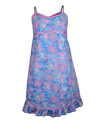 Blue Paisley Nightgown - Girls