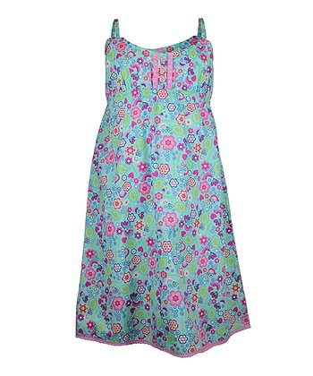 Mint Summer Garden Nightgown - Girls