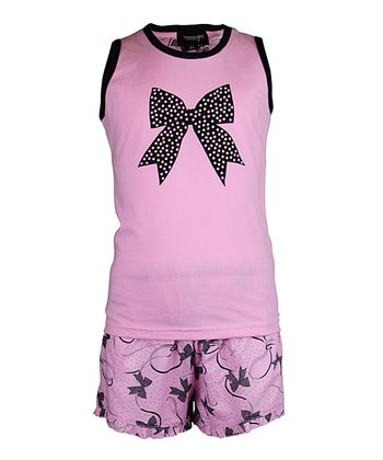 Pink Bow Shorts Pajama Set - Girls
