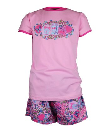 Pink Love Paris Shorts Pajama Set - Girls