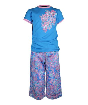 Blue Paisley Pajama Set - Girls