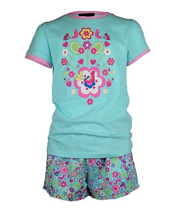 Mint Summer Garden Shorts Pajama Set - Girls