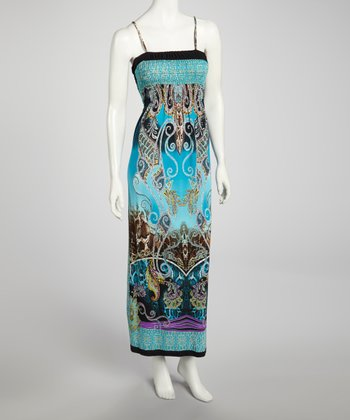 Turquoise Shirred Maxi Dress