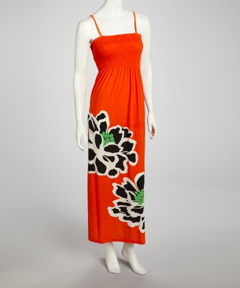 Orange & Black Flower Shirred Maxi Dress