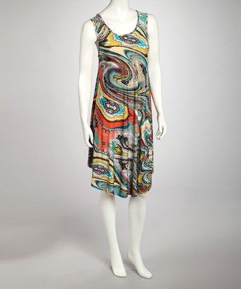 Yellow Watercolor Swirl Dress - Women