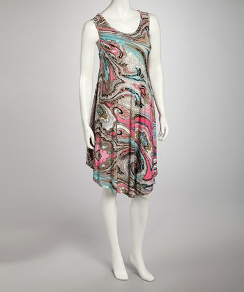 Fuchsia Watercolor Swirl Dress - Women