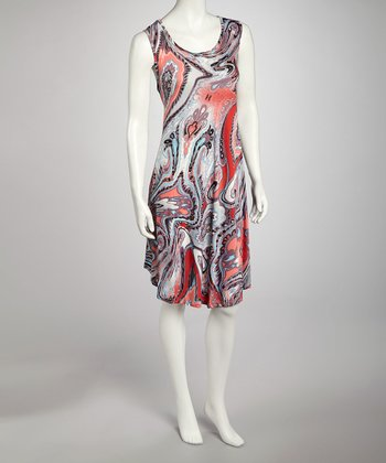 Red Watercolor Swirl Dress - Women