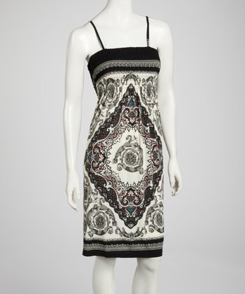 Black & White Shirred Tapestry Dress - Women