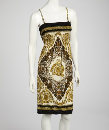 Black & Taupe Shirred Tapestry Dress - Women