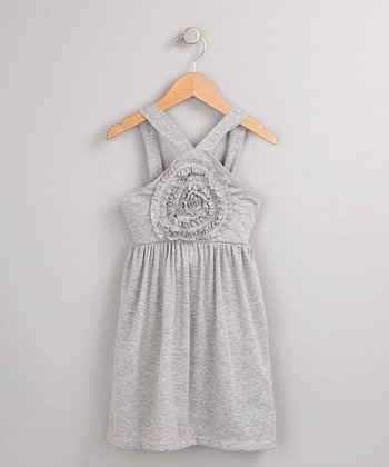 Gray Blossom Dress - Girls
