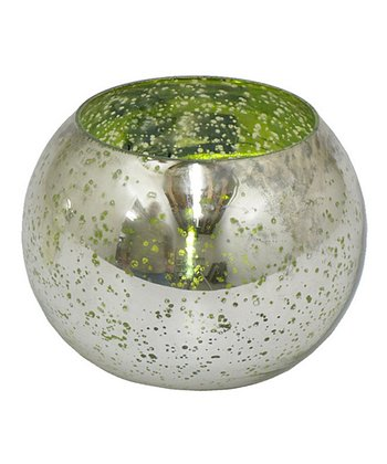 Metallic Green Glass Hurricane Candleholder