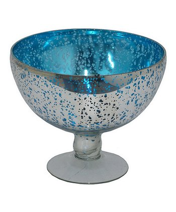 Metallic Blue Glass Hurricane Candleholder