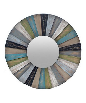 Blue Mixed Wood Round Wall Mirror