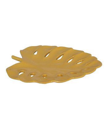 Yellow Single Leaf Cutout Plate