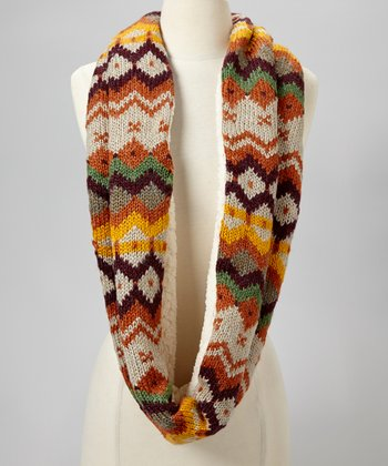 Red Autumnal Infinity Scarf