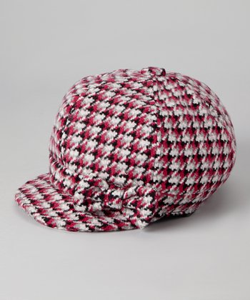 Pink Plaid Newsboy Cap